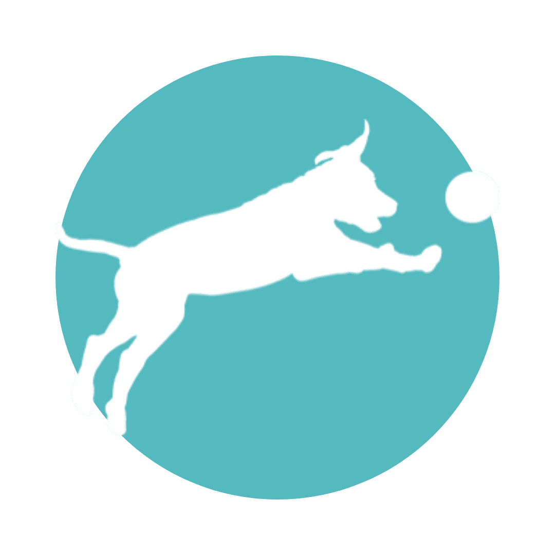 Blue and white logo of dog playing with a ball.