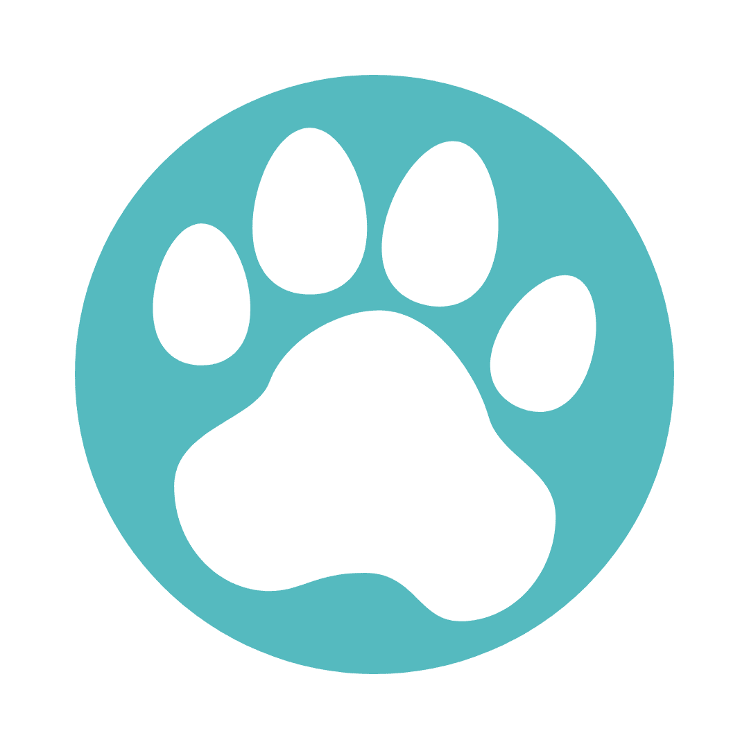 Blue and white logo of dog paw.